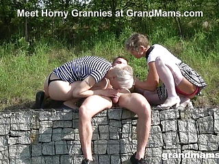 2 Beautiful Grannies Are Blowing the Life out of a Lad