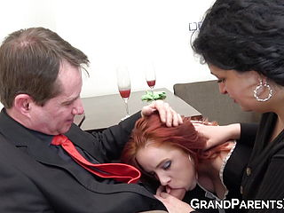 Buxomy sandy haired maid joins senior duo oral pleasure before money shot