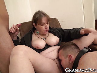 Domineering grandma submits 2 hard ons to her rule