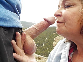 Grannie demonstrates off her oral abilities in nature