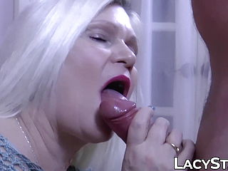 Grannie thrusts large manhood inwards of her throat and twat