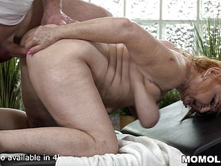 Mature Cool GILF Marianne Romped by Young Rubdown Therapist