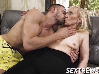Nympho grandma entices youthfull boy and tongues his molten spunk
