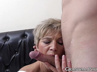Super steamy grannie treats large youthfull boner with prowess