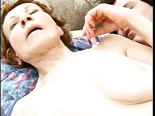 Ancient grannie gets her vag drilled scrotum deep by a youthfull man sausage