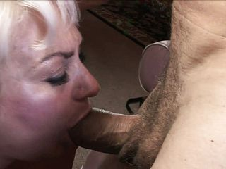 Naughty, milky haired grandmother tongues on his hard trouser snake before taking it in her mossy pussy