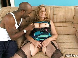 Sugary mature platinum blonde with large baps Simone nails a humungous dark hued man meat
