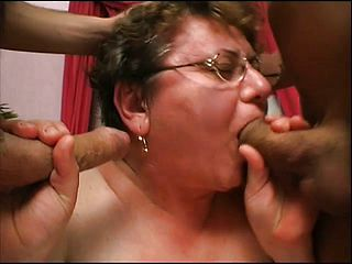 Brief haired mature woman with thick udders Cathy gets screwed by 2 studs