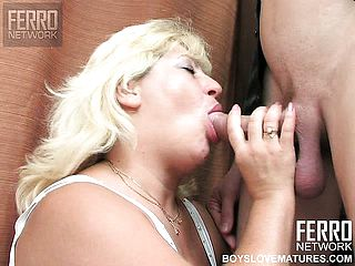 Obese platinum blonde cougar in stellar milky undergarments Rosemary has a youthfull fellow fulfilling her needs
