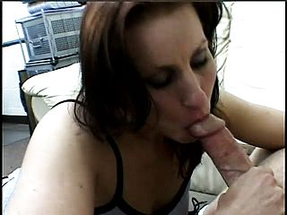 Sophisticated dame falls to her knees and slurps every inch of a boner