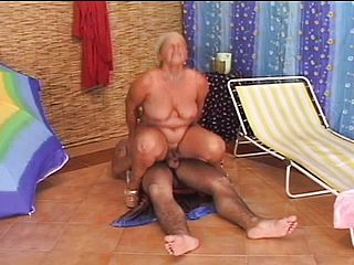 Trampy mature female munches a youthful mans rump and nails his stiff sausage