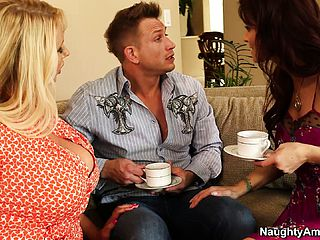Two blinding milfs, a ash blonde and a brunette, get together to fulfill common wishes
