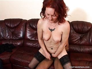 Super naughty red haired mummy rails a rigid manstick on her way to satiate her fantasies