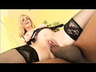 Naughty blond stunner is desperate for this dark hued fuckpole inwards her