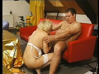 Ultra cute blondie grannie in milky pantyhose gets torn up like she is worth