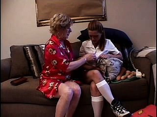 Wonderful honey Dyn-a-mite with a lesbo grannie tonguing and playing coochies
