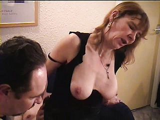 Wild ash blonde mummy with thick titties invites 2 super naughty fellows to satiate her fantasies