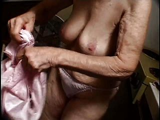 Granny Gigi gives her saggy muff up to the hunky negro plumber