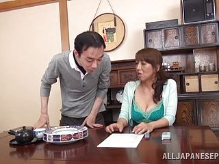 Dude fingers a busty Japanese slut
