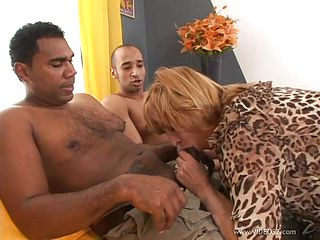 Interracial sex for a mature blonde