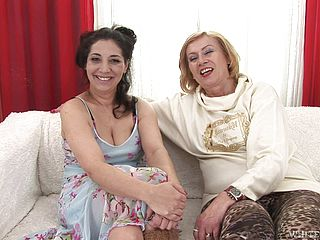 Hot lesbian scene among mature ladies Lady and Alexia