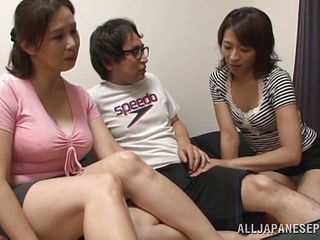Mature Asians share a guys cock in amateur threesome