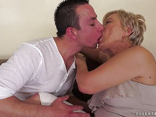 Mature blondes fucked silly by a stud with a thick cock