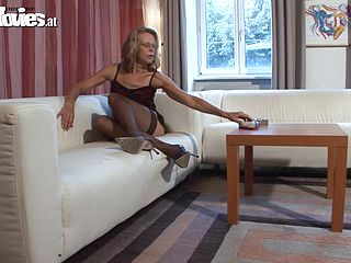 Mature blondes fucked by her husband in the living room