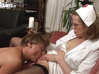 Mature nurse is fucked silly by her man