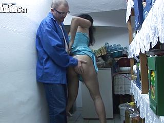 Mature slut fucks guys in the back room of a store