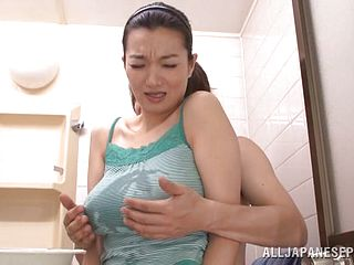 Mature Mio In MMF Threesome Giving A Blowjob And A Handjob