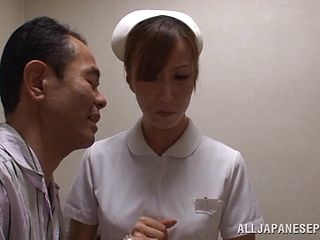 Nurse Shiori Ihara sucks a patients cock until he cums in her mouth