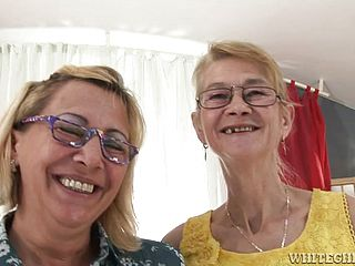 Wrinkly old dykes having sex on camera