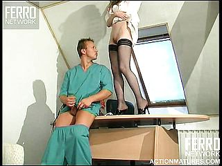 Long legged silly in marvelous pantyhose gets banged insanely on her desk
