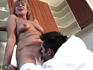 Hairy mature lady gets her pussy filled with young cock