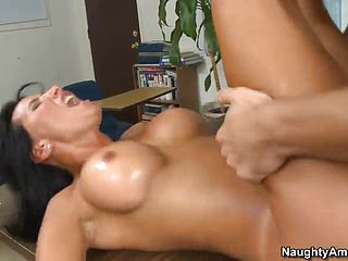 Mature in hard core adult vid in office