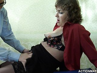 Mature superslut Emilia B and Rolf go at it and she gives him a spunk pump job