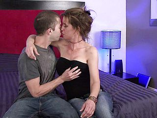 Charming cougar entices a junior stud to sate her sexual dreams