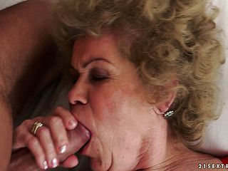 Granny takes youthful meat deep in her gullet and in her fur covered cooch