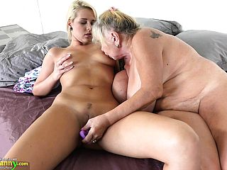Insatiable mature with saggy hooters has molten girly girl romp with a light haired sweetheart