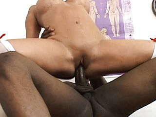 Big Mummy Ava Devine wears tights while getting banged by a Big black cock