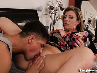 Sara Jay gets her puss eaten by the pool guy and deep throats his man sausage