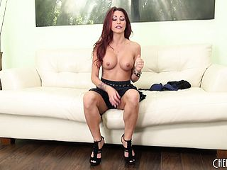 Hot solo act as dark haired bombshell Monique Alexander leisurely takes it off
