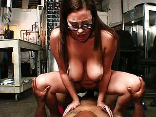 Steamy and mischievous office female Selena gets her gash crammed with black creamstick