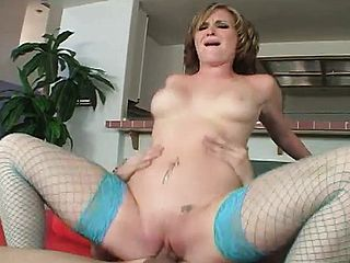 Huge boobed light haired cutie in fishnet pantyhose luvs to rail a thick manstick