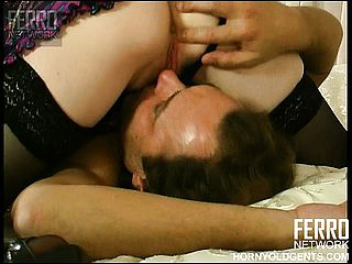 Huge chested black haired honey in undergarments gets eaten out by her insatiable plumber