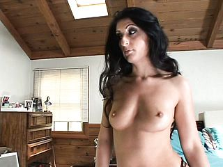 Sensual black haired Sugary Lopez unveils her footjob and oral job abilities