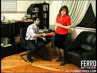 Serious mature businesswoman Laura I ultimately agrees to love an office quickie