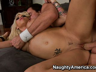 Brooke Haven gets her tattooed up cooter ravaged down to the nuts