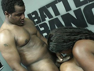 Chunky black chick Minxxx is in need of a dark hued manstick and a rock hard boinking